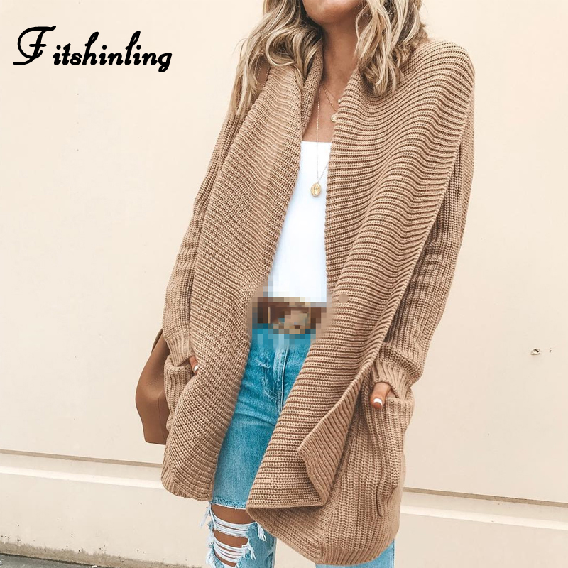 Fitshinling Fashion 2018 Winter Cardigan Female Jacket Outerwear Pockets Knitted Sweater Long Cardigans Women Clothing Khaki New