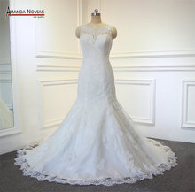 Simple Mermaid Lace Wedding Dress Amanda Novias Real Work Photos