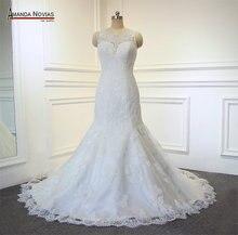 Vestido de noiva de renda de sereia simples amanda novias fotos reais do trabalho
