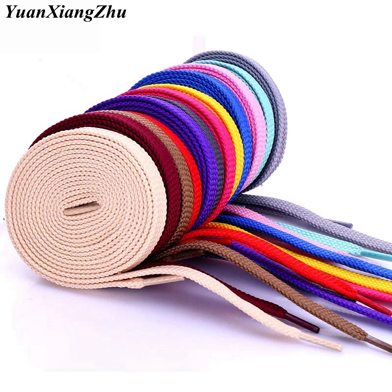 1Pair Double Flat Laces High Quality Polyester Shoelaces Fashion Sports Casual Shoe Lace Solid Flat Shoelace 28Colors