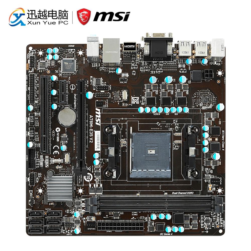 MSI A78M-E35 V2 Desktop Motherboard A78 Socket FM2+ DDR3 SATA3 USB3.0 Micro ATX цена и фото