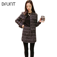 DIV Women O Neck Plaid Leisure Suits Single Breasted Pockets Design Tweed Jacket And Zipper Skirts