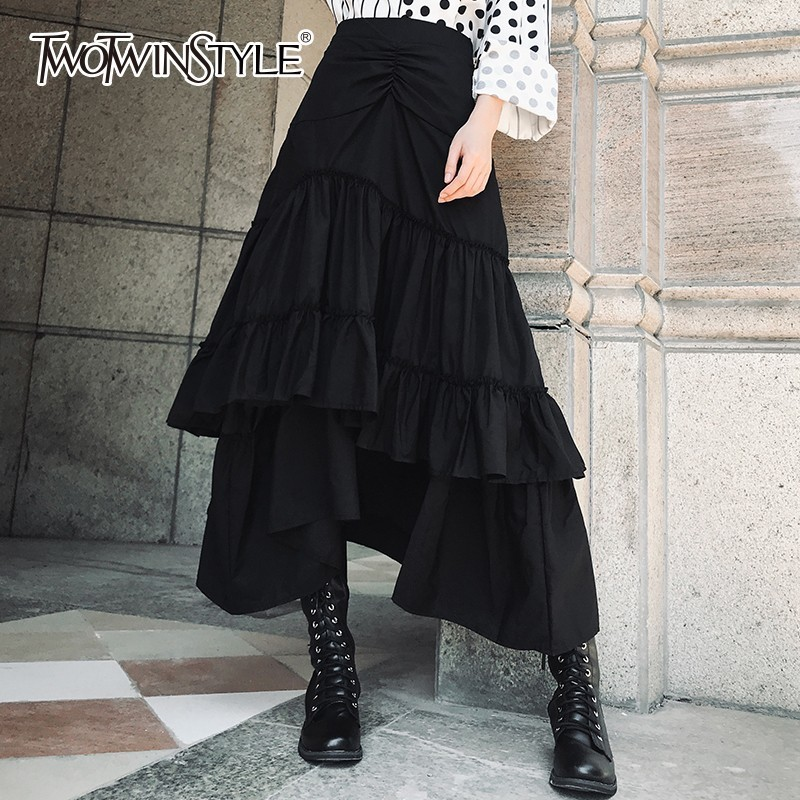 TWOTWINSTYLE Patchwork Ruffle Mermaid Skirt Female High Waist Black Midi Skirts Women Autumn Casual Fashion Korean Clothes 2020