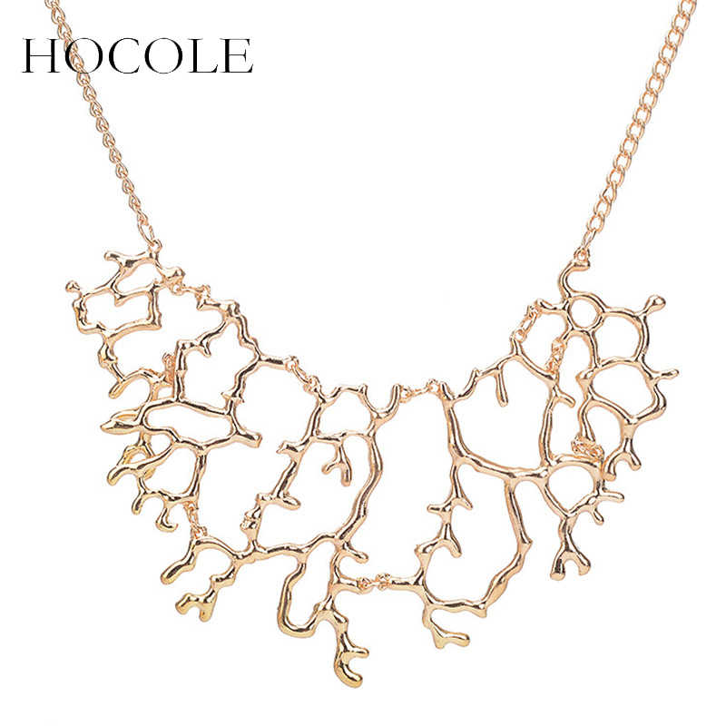 HOCOLE Vintage Geometric Hollow Branch Collar Necklace Women Gold Silver Color Coral Pendant Metal Chain Necklace Jewelry Gift