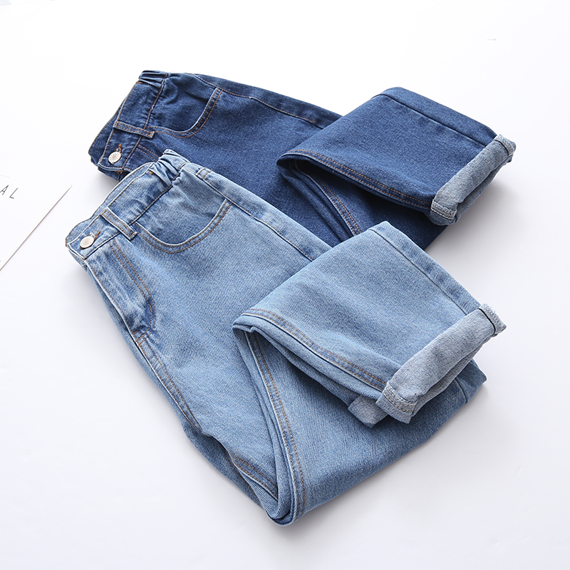 2019 Woman Jeans Pants Blue Elastic Waist Regular Casual Demin Trousers Women Ankle length Capri Harem Pant