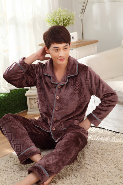 Comfortable and warm autumn and winter thick coral Male Thickening Flannel Lounge Long-sleeve Coral Fleece Men Sleepwear