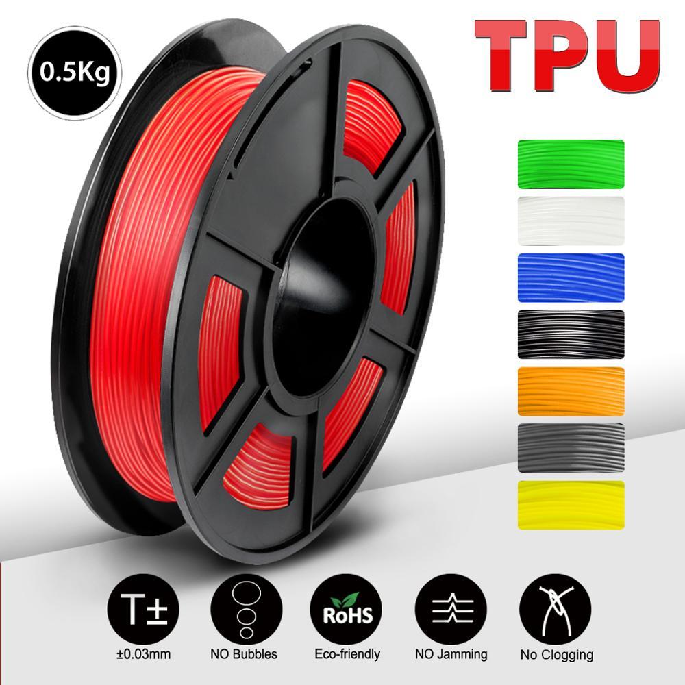 SUNLU new TPU Filament Flexible 0.5KG Soft 3D Printing material Filament flex 1.75mm 3D Printer Modeling