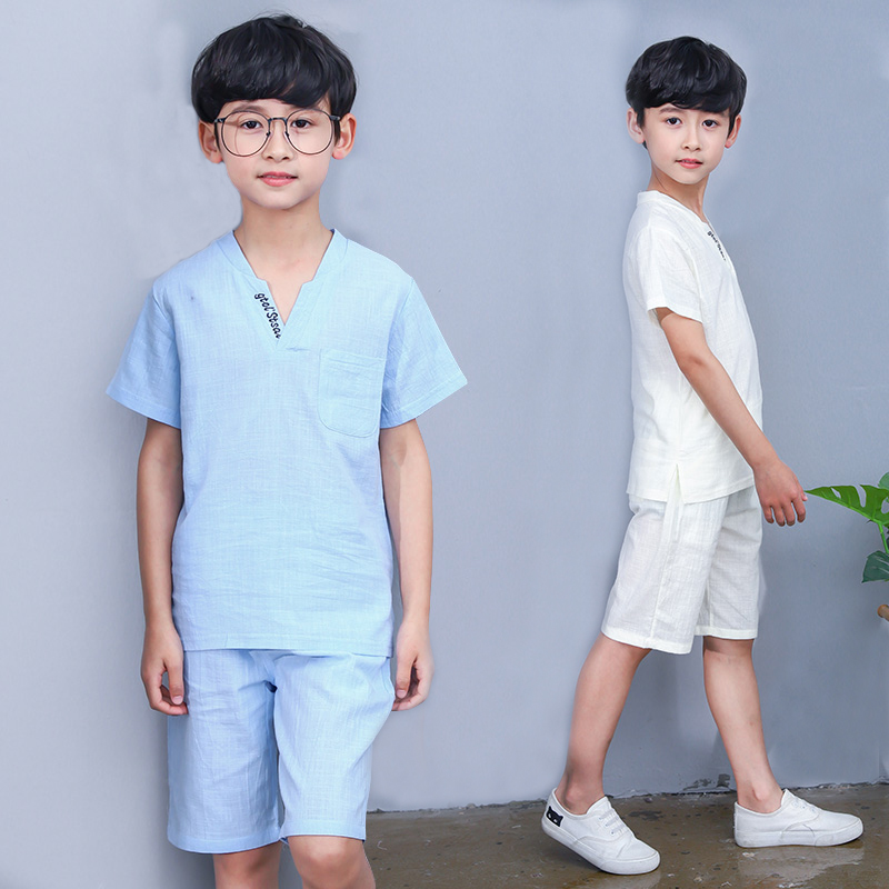 FYH Kids Clothing Boys Summer Set Cotton Linen Short-sleeved T-shirt+Shorts Teenager Boys 2 pcs Suit Children's Clothing Set sun moon kids boys t shirt summer