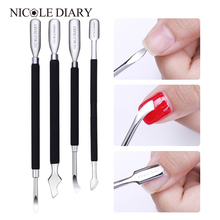 NICOLE DAGBOEK 1 St Matte Black Dual-ended Cuticle Pusher Remover RVS Manicure Nail Art Tool