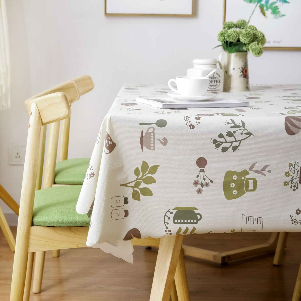 PVC Printed Tea Rectangular Tablecloth Waterproof Oilproof Home Dining Room Table Cover Kitchen Tablecover in Tablecloths from Home Garden