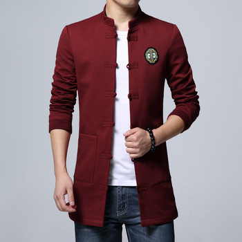 Chinese Style Mens Long Coats  Autumn New Men Jackets Pure Color Single-breasted Embroidered Jacket S-4XL