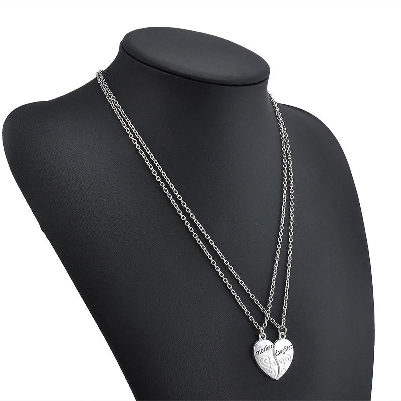 bb9c741bae9f 2 Unid plateado plata del collar de la hija de la madre Mamá del amor del  corazón Collares y colgantes para mujeres Collier Femme nl0017