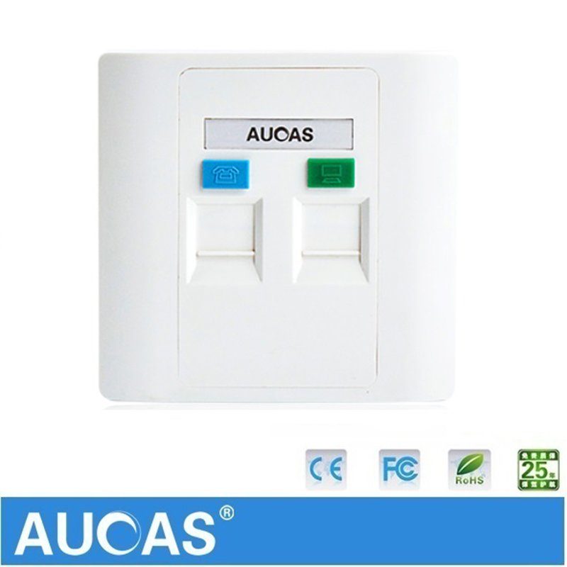 AUCUS 4 unids / lote 2 puertos placa de pared Keystone placa frontal rj45 rj11 placa frontal modular zócalo de pared rj45 panel pc blanco 86 cm