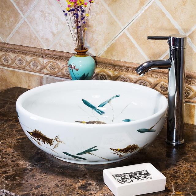 Europa Stil Handgemachte Arbeitsplatte Badezimmer Becken Waschbecken  Keramik Waschbecken Porzellan Vintage Waschbecken