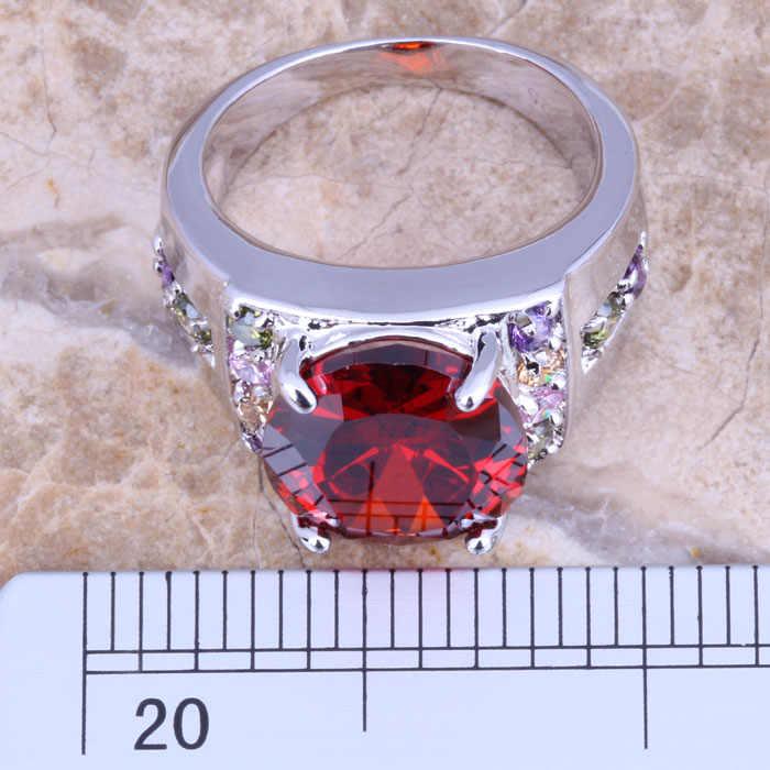 PERFECT Multicolorสีแดงโกเมนเงินผู้หญิงเครื่องประดับแหวนขนาด 6 / 7 / 8 / 9 R1266