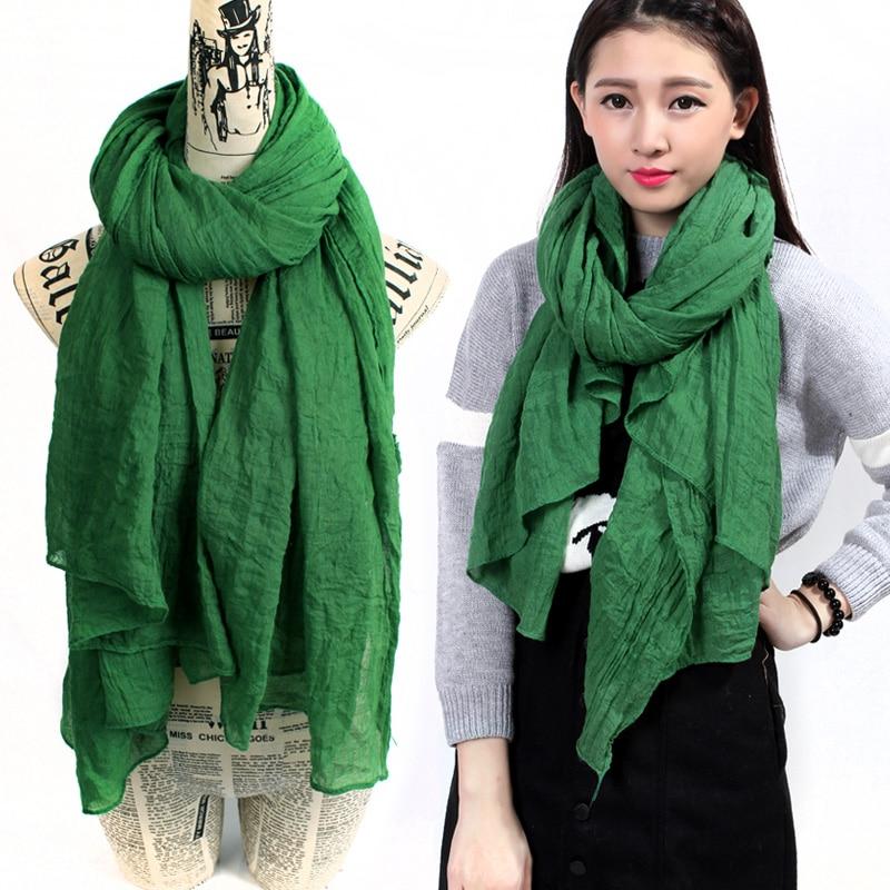 b10db9725497 Couleur unie Hiver Écharpe Femmes Hijab Vert Châles Et Foulards Dames  Enveloppes Écharpe Femme