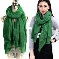 180 * 110 cm cor sólida inverno cachecol Hijab xales e cachecóis Ladies Wraps lenço verde feminino