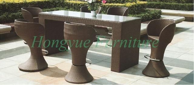 Outdoor brown rattan 6+1 bar bistro set furniture
