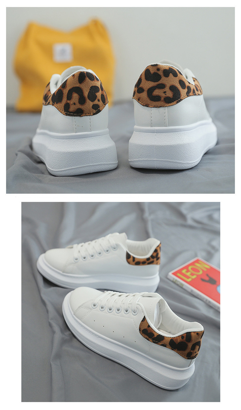 2020 New Spring Tenis Feminino Lace up White Shoes Woman PU Leather Leopard Female Shoes Casual Women Shoes Sneakers Big Size 41