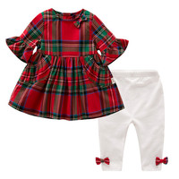 Spring Summer Children's Clothing Flare Sleeve Plaid Dress Bow Tie Shirt Pants 2pcs Baby Girl Cotton Outfit Christmas Clothe Set