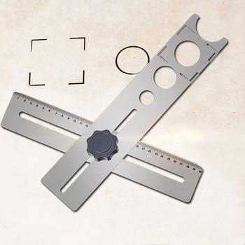 Multi-funcional de acero inoxidable de baldosas de cerámica agujero localizador gobernante ajustable de herramienta de mano para casa decorada trabajo