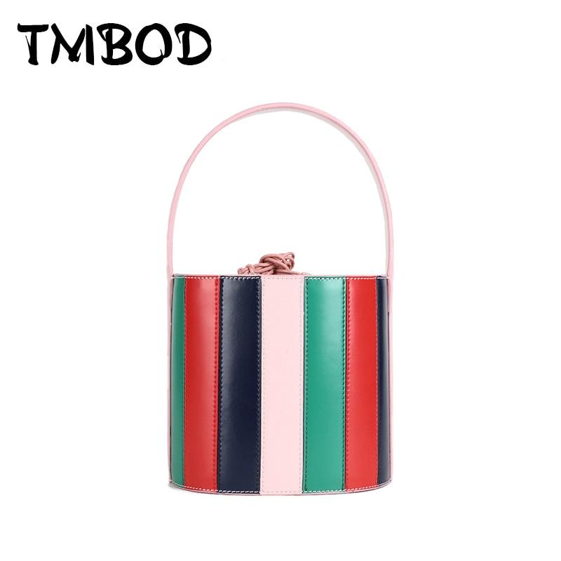 New 2019 Designer Small Barrel shaped Bucket Bag Women Split Leather Handbags Ladies Striped Messenger Bags