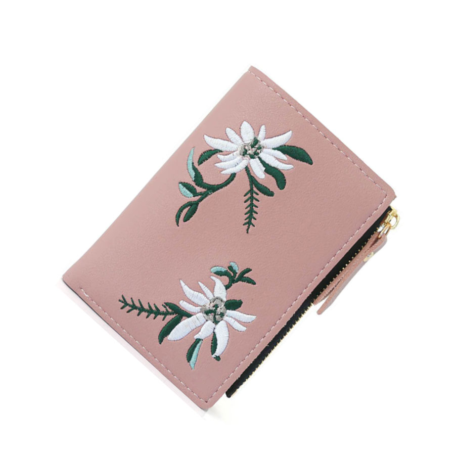 Pu Leather Women Wallet Female Small Coin Purse Floral Embroidery Short Women Wallets Portefeuille Femme For Girls