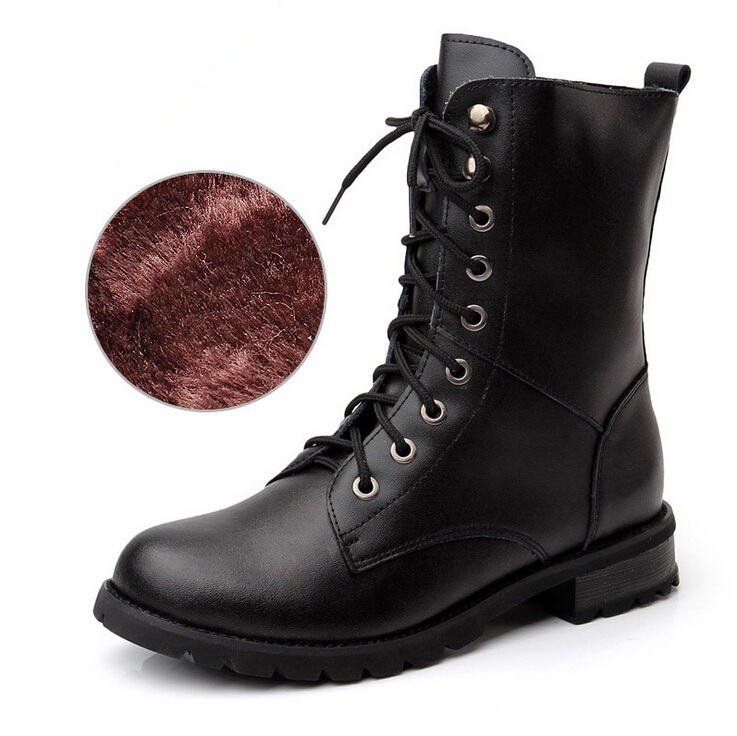 ФОТО Ladies Army Boots Women's Girls Military Combat Biker School Boots Winter Warm Shoes Women Leather Boots Genuine size 34-43