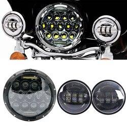 """Dla Yamaha royal star Venture XVZ1300 dla Harley 75W 7 calowy LED moto rcycle reflektor moto 7 """"wspornik 4 1/2 cala światła mijania na"""