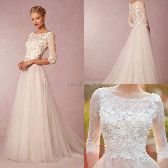 Simple Elegant Tulle A Line Scoop Neck Cap Sleeves Lace: Spring Simple 2015 Wedding Dresses A Line Cheap 3/4 Sleeve