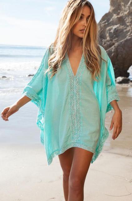 66575ccd2a Kadın yaz elbisesi V Boyun Kaftan Kimono Elbise Pareo Plaj Saida de Praia  Mayo