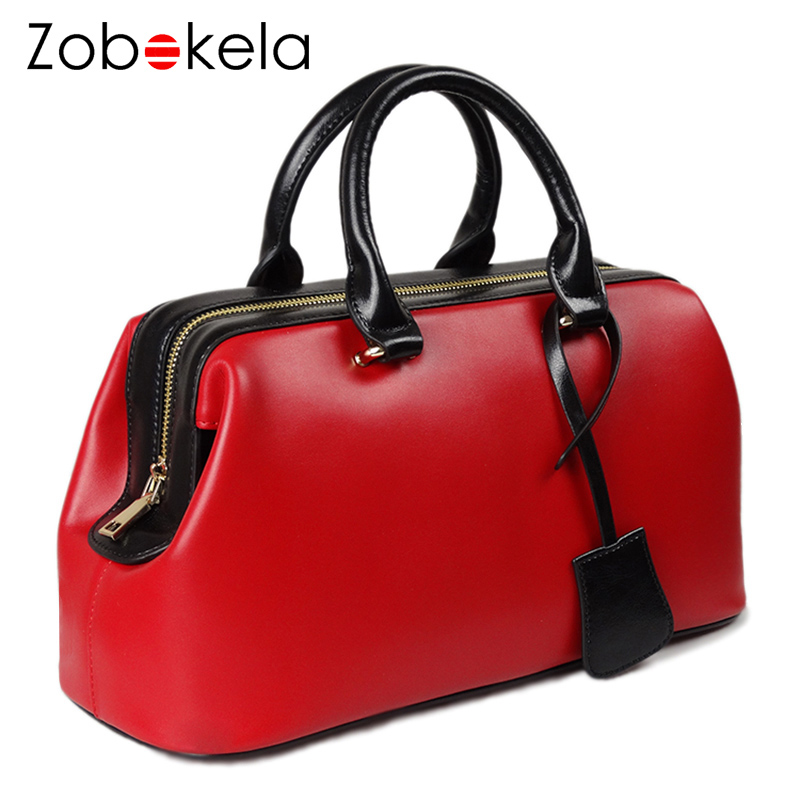 Zobokela Genuine Leather Bag Female Purses And Handbags Women Bag Famous Brand Lady Tote Bag Doctor Bag Fashion Designer Luxury luxury brand design basket bucket tote women day clutches and purses 2pcs composite bag lady handbags rivet women messenger bag