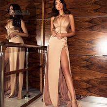 La servidumbre Nuevo estilo de verano vestido de mujer Sexy correa de espagueti sin mangas Vestidos de alta Split mujeres vestido largo Club Party vestidos