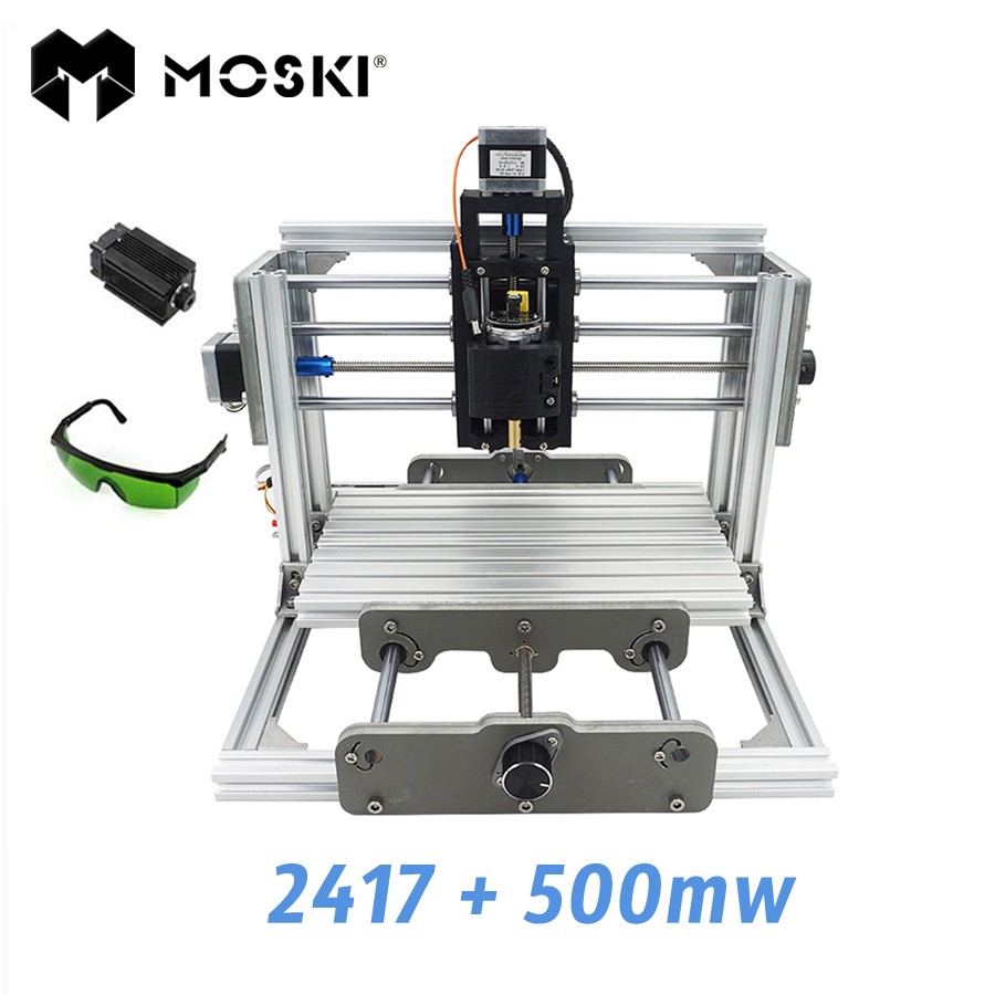 MOSKI ,2417+500mw,diy engraving machine,mini Pcb Pvc Milling Machine,Metal Wood Carving machine,2417,grbl control mini engraving machine diy cnc 3040 3axis wood router pcb drilling and milling machine