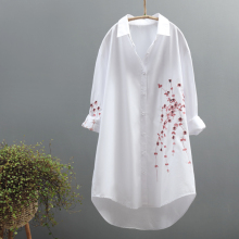 loose shirts tops embroidery