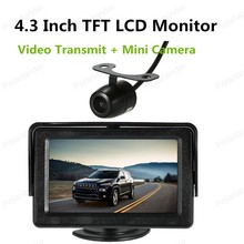 hot!! DC 12V TFT LCD for VCD/DVD/GPS/Camera Monitor 4.3 Inch with Wireless Video Transmit + Mini Camera