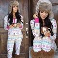 NUEVAS Llegadas Señoras de Las Mujeres ropa de Noche de Navidad 2 Unids Fija ropa de Dormir Trajes Pijama Establece CALIENTE