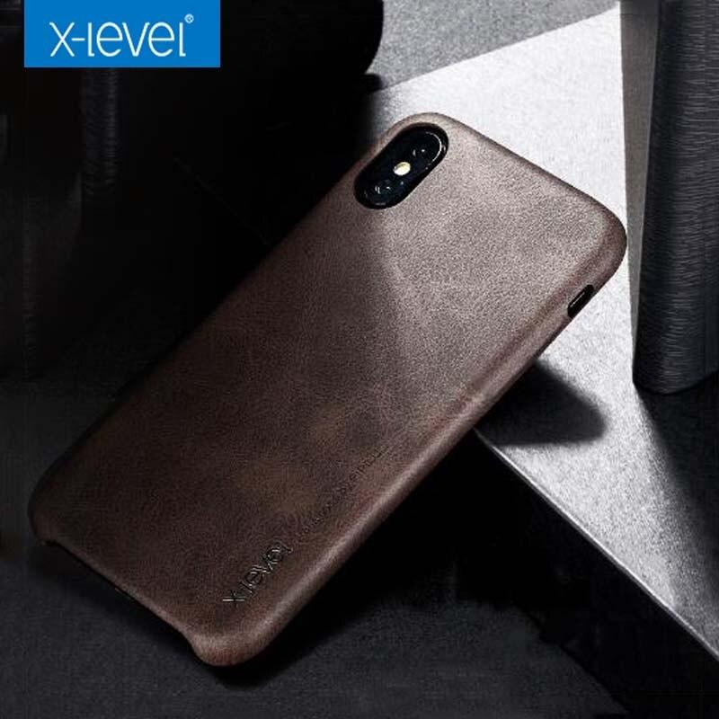 X-Level Luxury Vintage Leather phone case For iPhone X 8 8plus Retro soft Back Cover for iphone7 7plus 6 6s 6plus case fundas