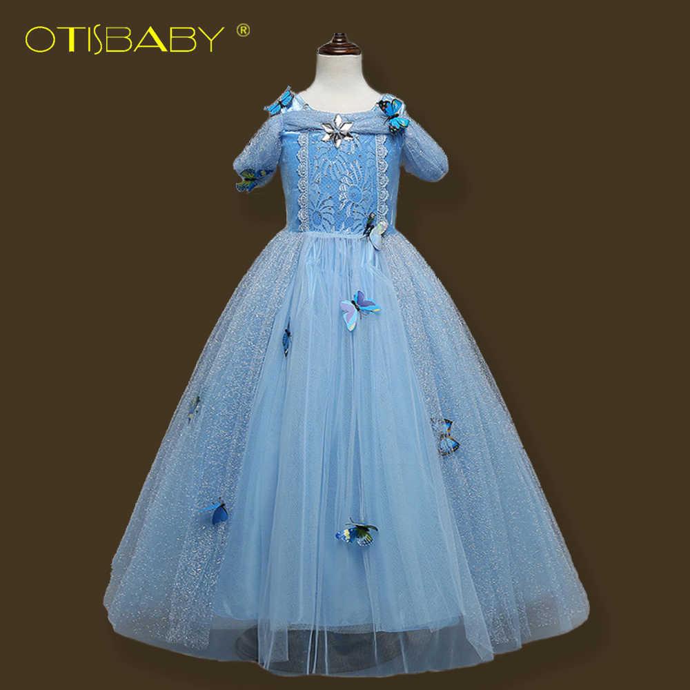 בנות שמלות ילדי שמלות נשף סופיה נסיכת פנטזיה סינדרלה אורורה רפונזל בל שמלת תחרה ילדה Elsa שלגיה תלבושות