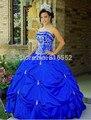 2017 Nueva Sexy Bordado Sin Tirantes de Tafetán vestido de Bola Azul Vestidos de Quinceañera QA125 Appliuqes Piso-Longitud Vestidos De 15 Anos