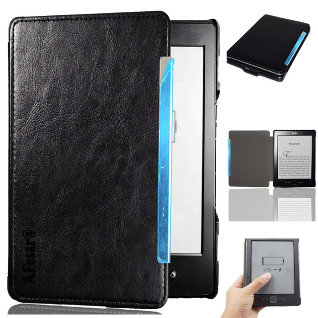 new style 22c73 e1f27 US $6.82 42% OFF|Flip book cover case for Amazon Kindle 4 Kindle 5 D01100  ebook high quality pu leather pocket bag pouch folio case+screen film -in  ...
