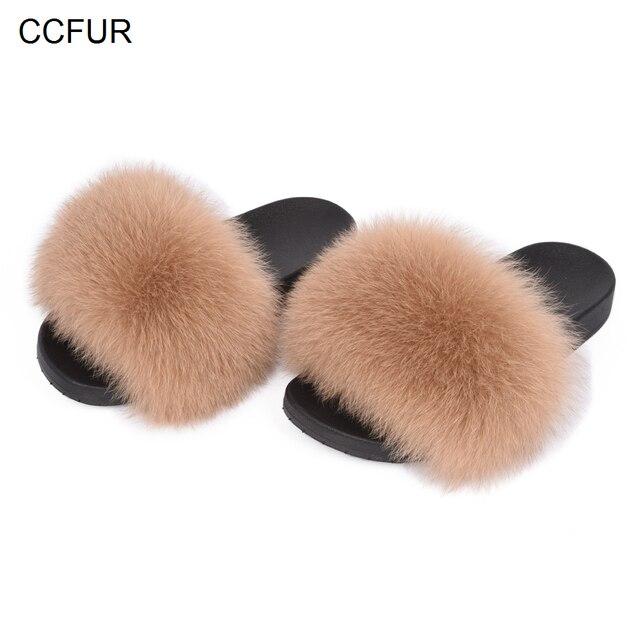 2019 New Fur Slides Women's Real Fox Fur Slippers Shoes Flip Flops Flat Fluffy Fur Sliders Retail Wholesale S6018F