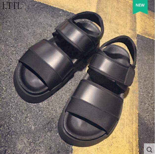 2017 LTTL summer men flat heel sandals simple style ankle strap sandals  leather thick heel walking shoes male beach sandals-in Men s Sandals from  Shoes on ...