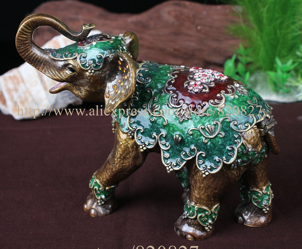Big Elephant Jewelled Trinket Box Jewelry Box with Inlaid Crystal, Pill Box Figurine Elephant (Circus) Jeweled Trinket Box
