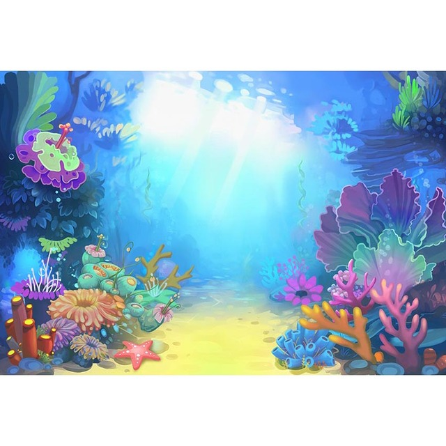 Little Mermaid UnderSea Caslte Corals Ariel Princess Photography Backdrop Baby Party Birthday Photo Background