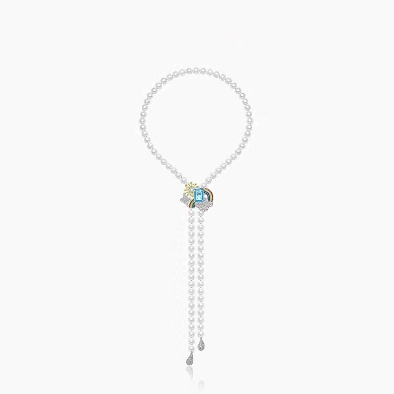Fits APM Monaco Jewelry with Women's Party Jewelry Gift Charm 925 Sterling Silver Zircon Rain Rainbow Weather Pearl Necklace