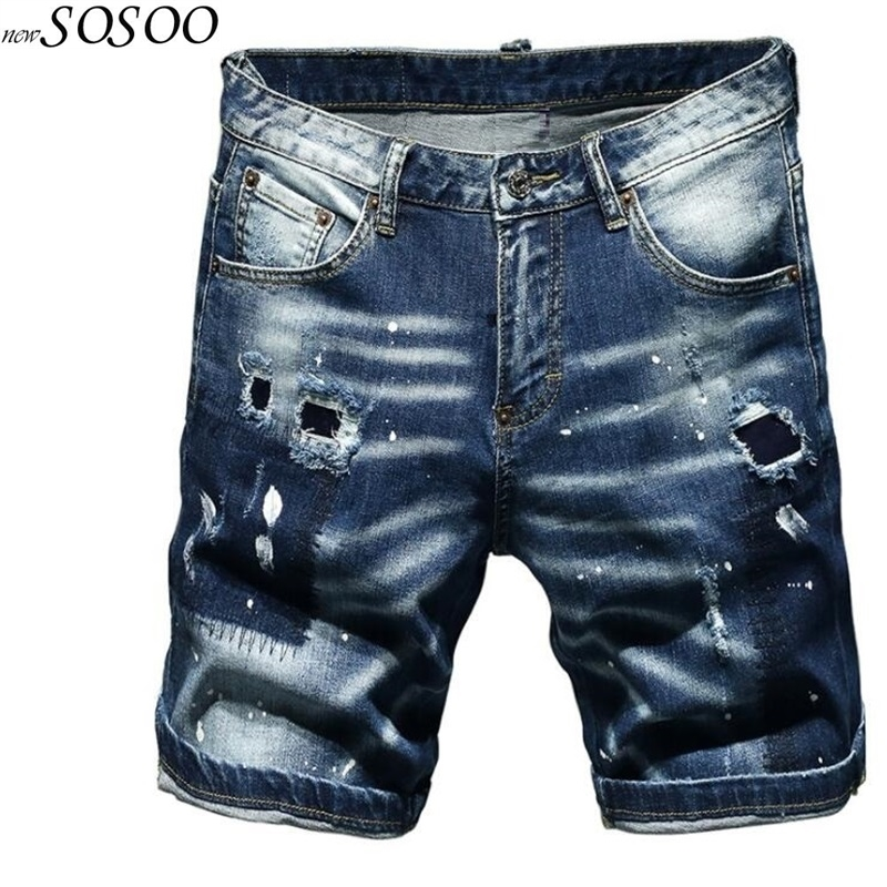 New Summer Men's Stretch Ripped Short Jeans Splash-ink European And American Style Classic Men Jeans Pants #TC056