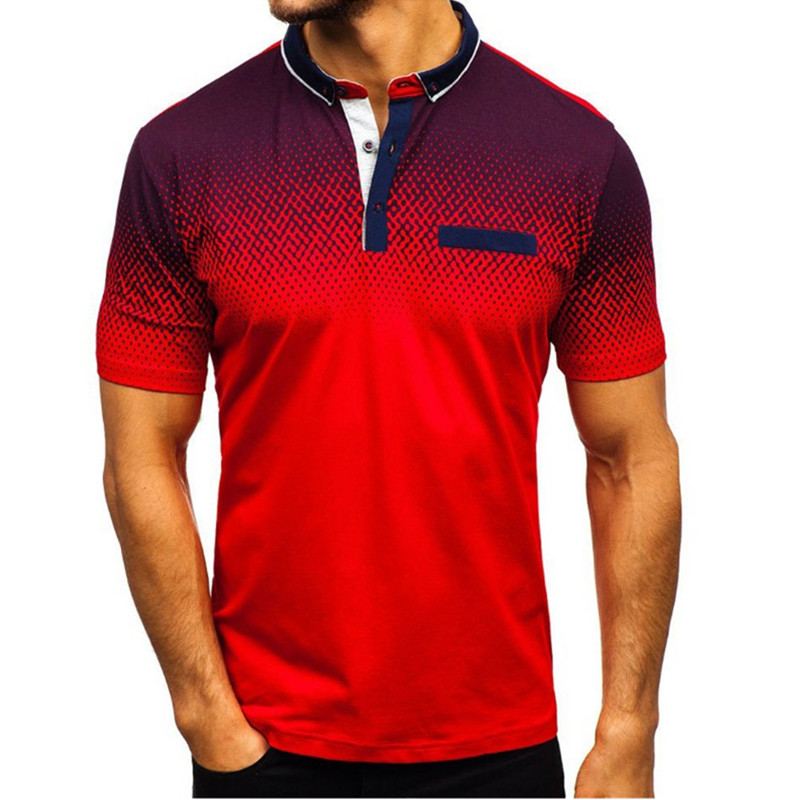 2019 foreign trade hot style men's polo summer 3D printed short sleeved polo men's European and American polo shirt lape-in Polo from Men's Clothing