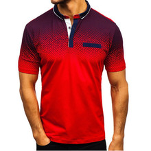 2019 foreign trade hot style mens polo summer 3D printed short sleeved polo mens European and American polo shirt lape