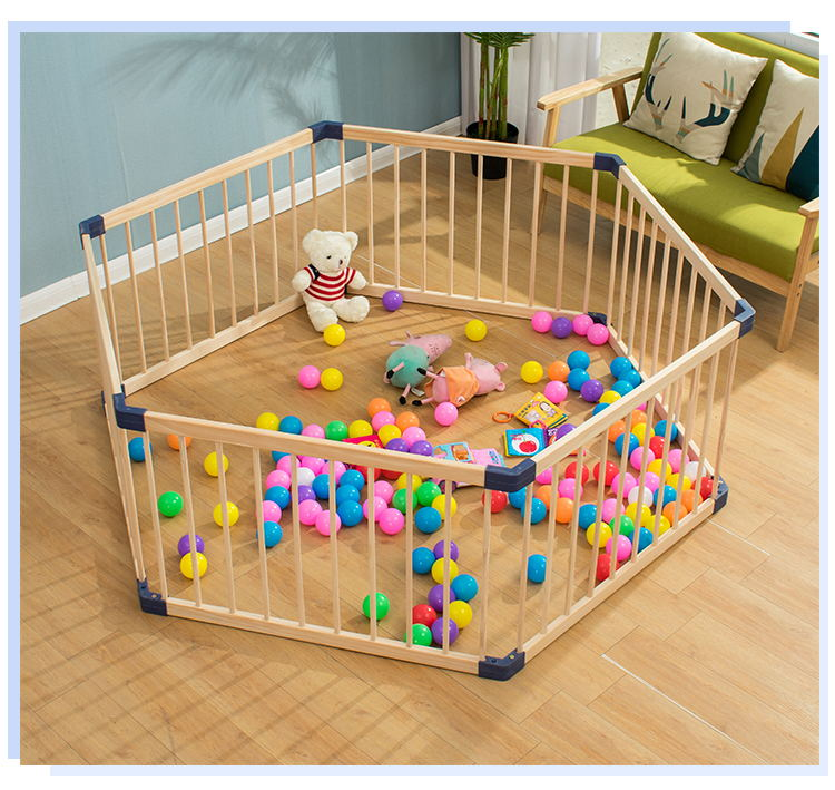 Indoor Solid Wood Children's Game Fence Folding Baby Crawl Playpens Activity Play Yards Baby Wood Safety Fence Playpen With Door